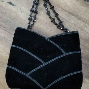 Velvet Evening Purse with a Bead Handle